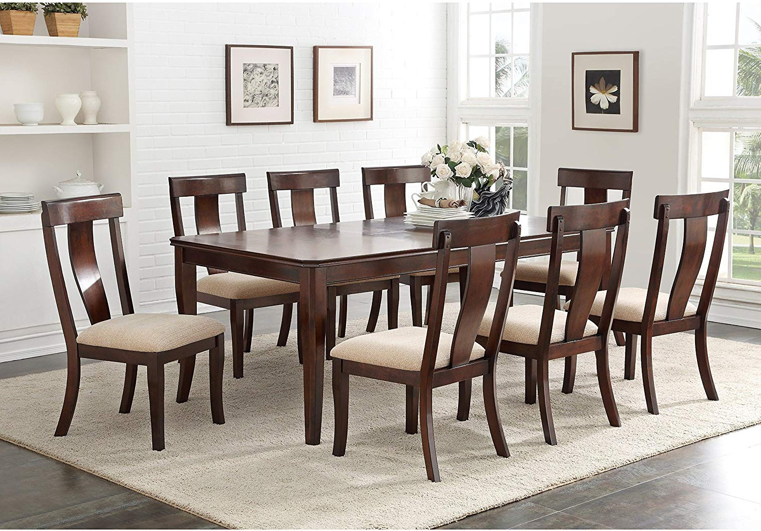 Most Up To Date Contemporary Rectangular Dining Tables Throughout Amazon – K And B Furniture Co Inc Cherry Wood (View 9 of 25)
