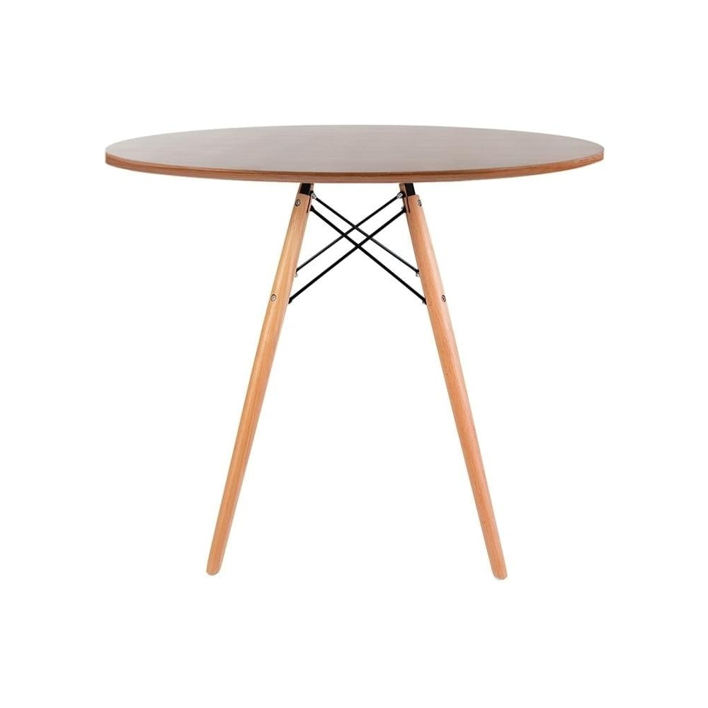 Most Up To Date Eames Style Dining Tables With Wooden Legs Pertaining To Eiffel Inspired Medium Walnut Circular Dining Table With Beech Wood Legs (View 13 of 16)