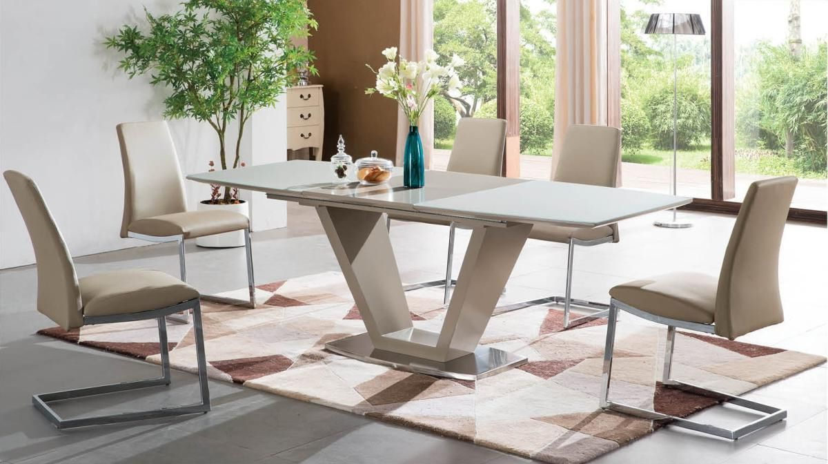 Most Up To Date Extendable Rectangular Frosted Glass Top Dinner Furniture In Frosted Glass Modern Dining Tables With Grey Finish Metal Tapered Legs (View 7 of 25)