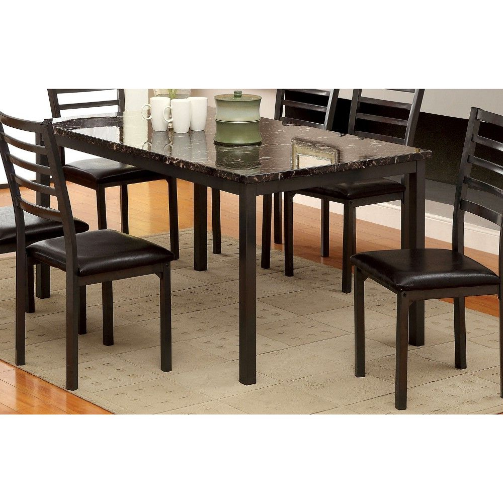 """Most Up To Date Iohomes Faux Marble Top 60"""" Dining Table Wood/black With Atwood Transitional Rectangular Dining Tables (View 18 of 25)"""