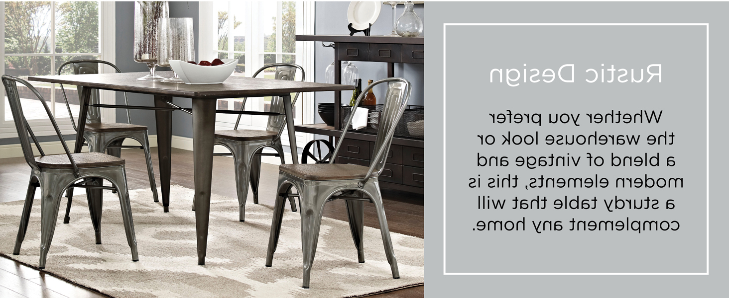 """Most Up To Date Lexmod Mo Eei 2034 Brn Alacrity Rustic Modern Farmhouse Wood Rectangle With Steel Legs, 59"""", Brown For Vintage Cream Frame And Espresso Bamboo Dining Tables (View 5 of 25)"""