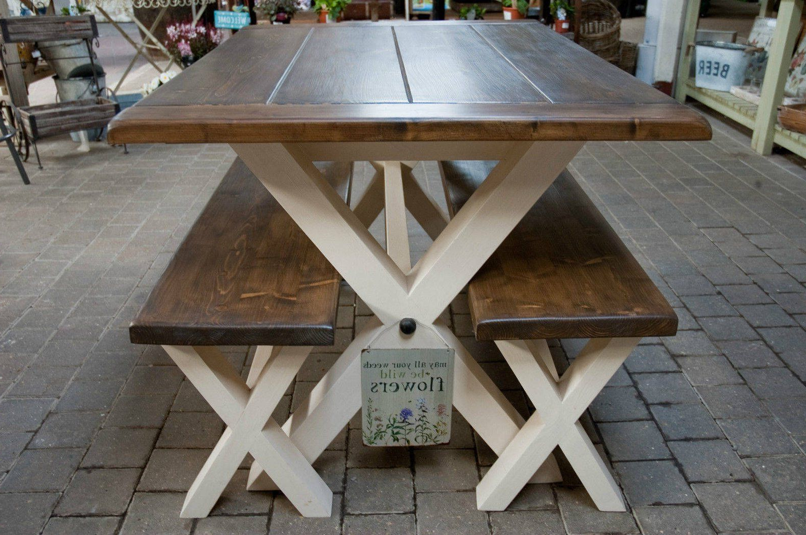 Most Up To Date Solid Thick Wood Farmhouse Table And/or Benches Cross/x Legs For Thick White Marble Slab Dining Tables With Weathered Grey Finish (View 6 of 25)