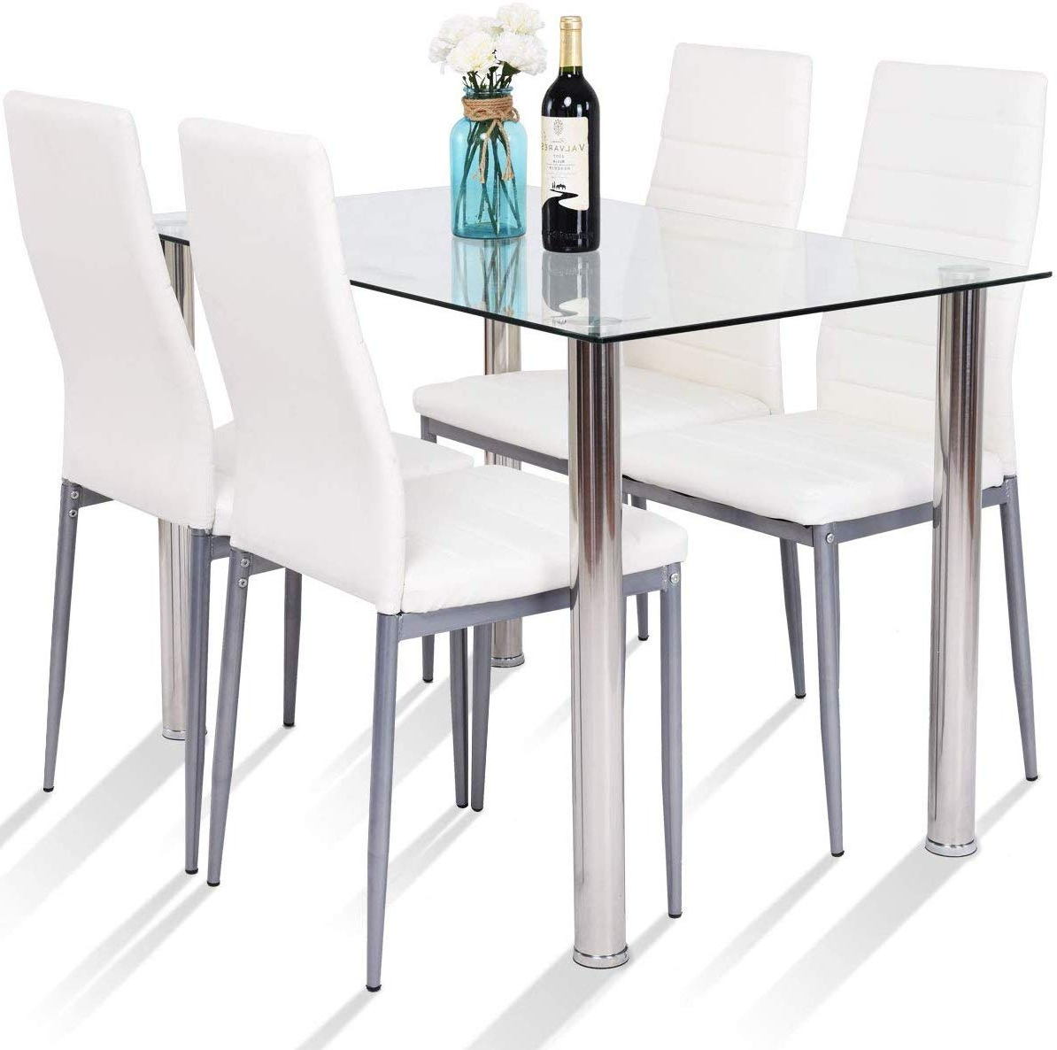 Most Up To Date Steel And Glass Rectangle Dining Tables Intended For Amazon – Tangkula 5 Pcs Dining Table Set Modern Tempered (View 9 of 25)