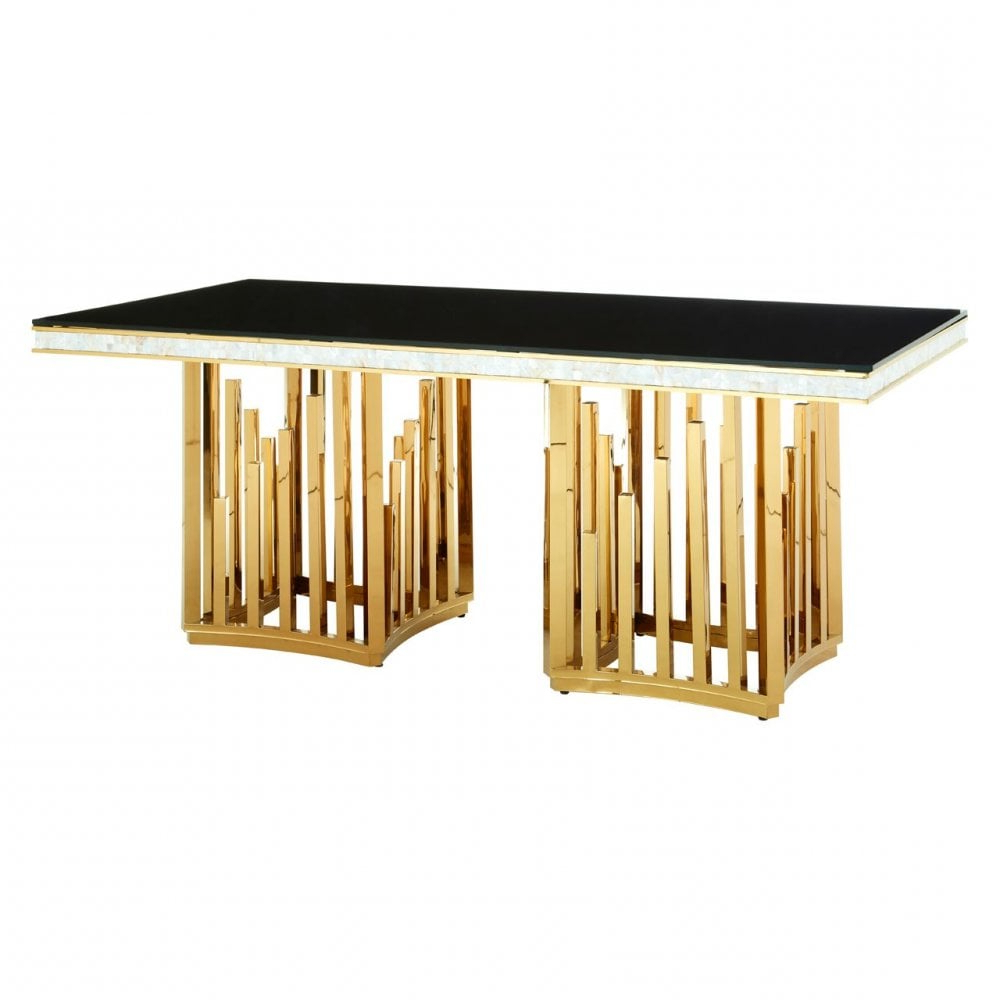 Most Up To Date Steel And Glass Rectangle Dining Tables Pertaining To Clanbay Eliza Gold Finish Dining Table, Stainless Steel, Glass, Gold (View 24 of 25)