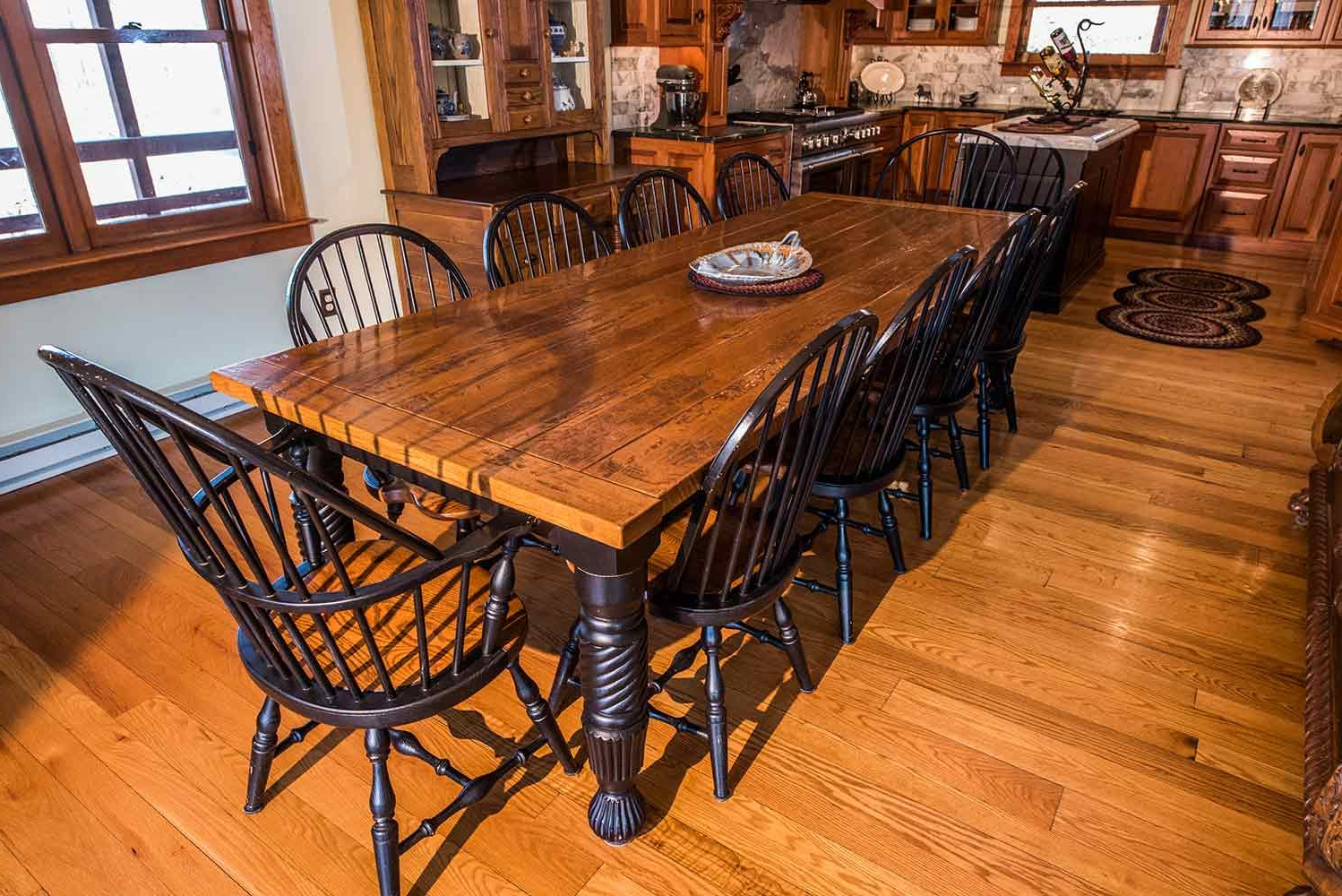 New England Quarter Sawn White Oak Farm Dining Table With 2019 Distressed Walnut And Black Finish Wood Modern Country Dining Tables (View 23 of 25)