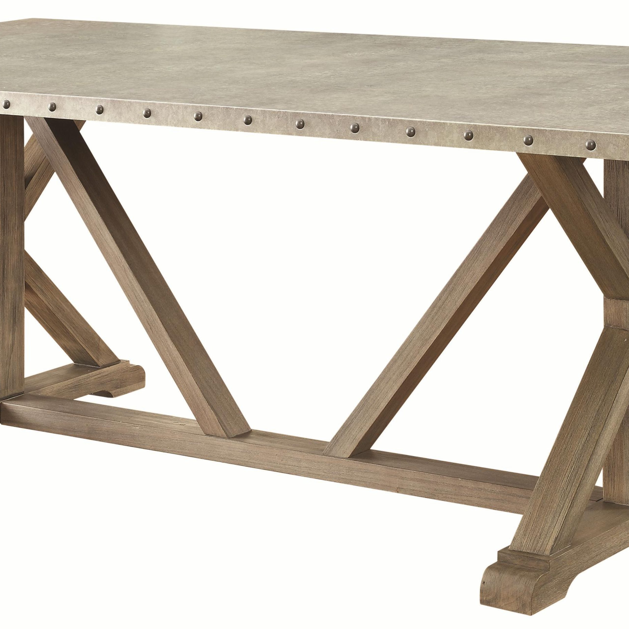Newest 7 Piece Transitional Style Table And Chair Set With Metal throughout Transitional Driftwood Casual Dining Tables