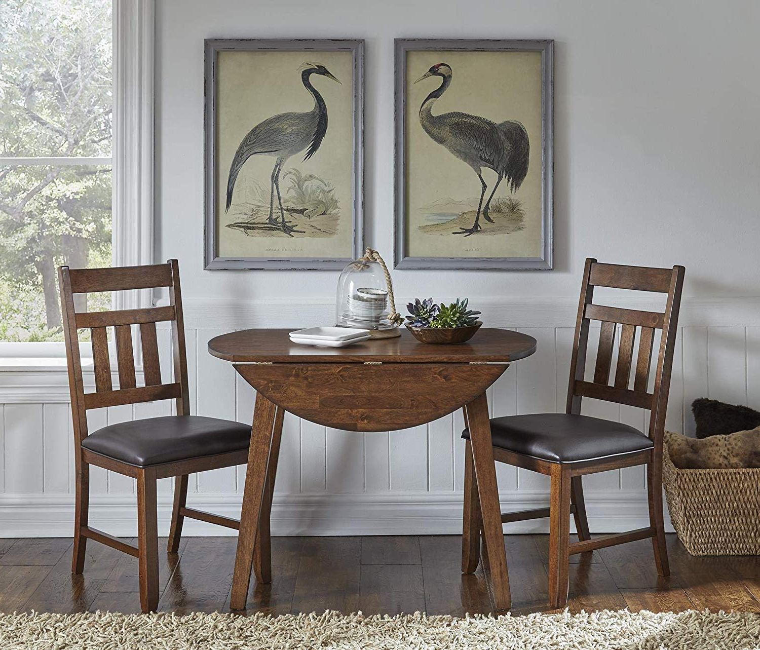Newest Amazon – A America Mason 42Inch Round Dropleaf Table Within Transitional 4 Seating Double Drop Leaf Casual Dining Tables (View 4 of 25)