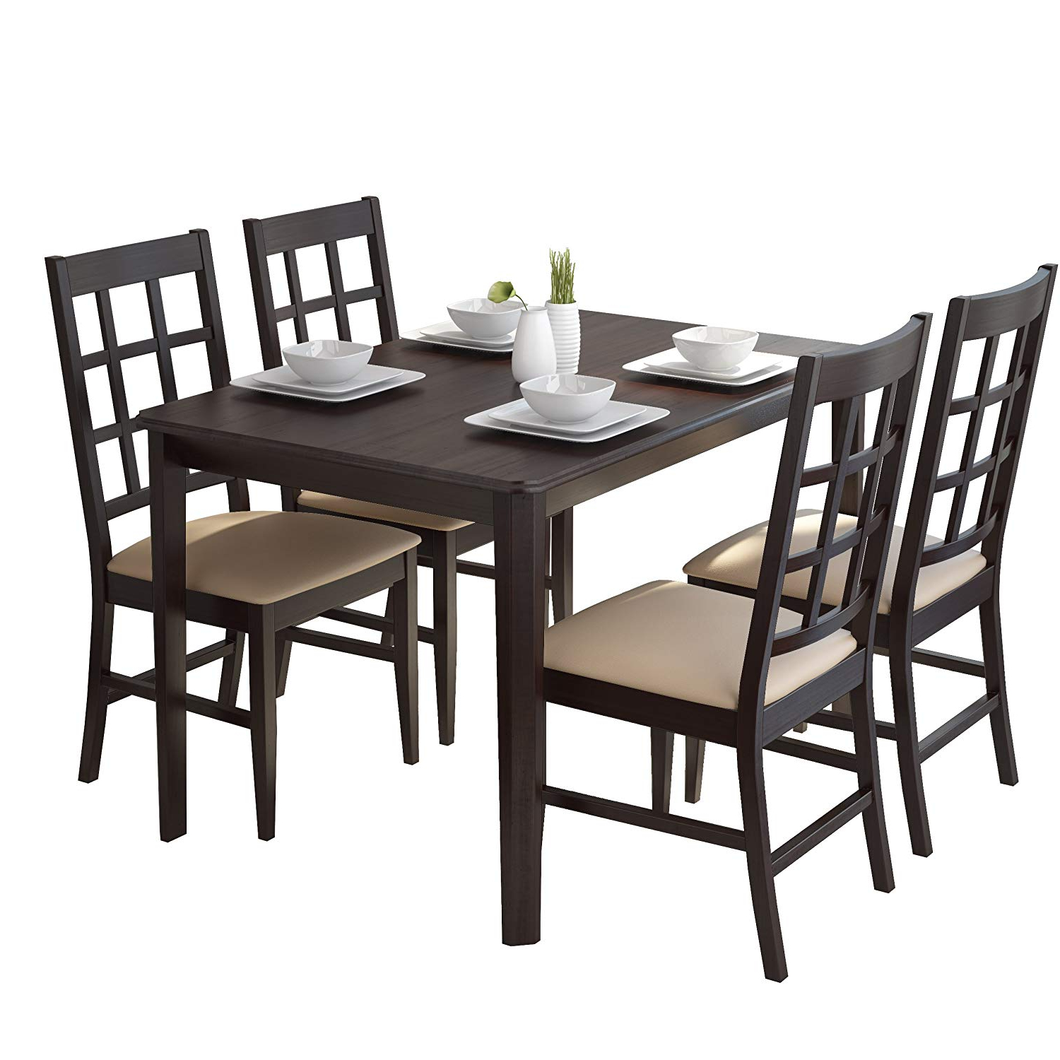 Newest Amazon – Corliving Drg 695 Z Atwood Dining Set, Brown With Atwood Transitional Square Dining Tables (View 6 of 25)