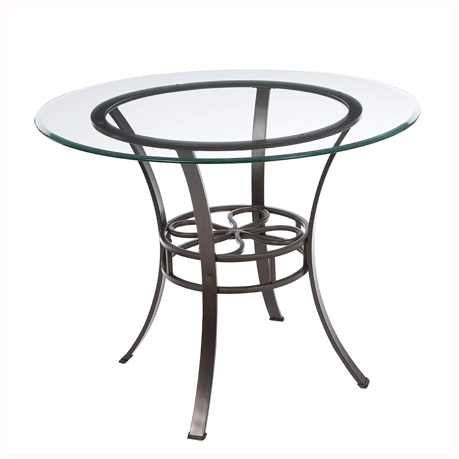 Newest Amazon – Round Glass Top Dining Table With Durable Metal For Modern Round Glass Top Dining Tables (View 21 of 25)
