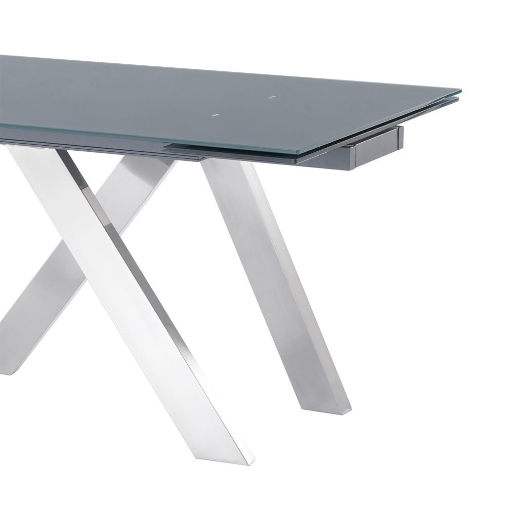 Newest Armen Living Imara Brushed Stainless Steel And Grey Tempered With Modern Glass Top Extension Dining Tables In Stainless (View 11 of 25)