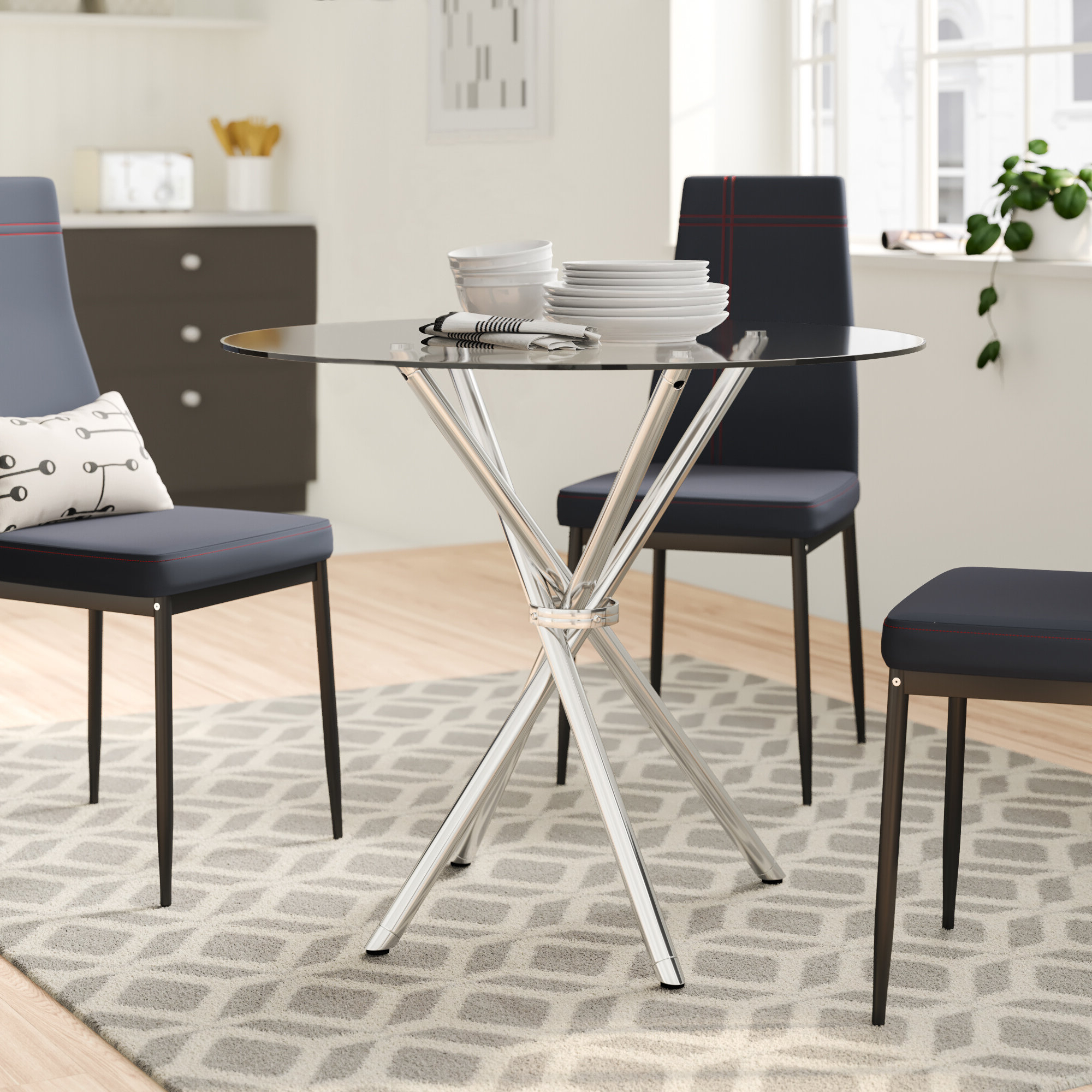 Newest Chrome Contemporary Square Casual Dining Tables in Zipcode Design Vince Glass Dining Table & Reviews