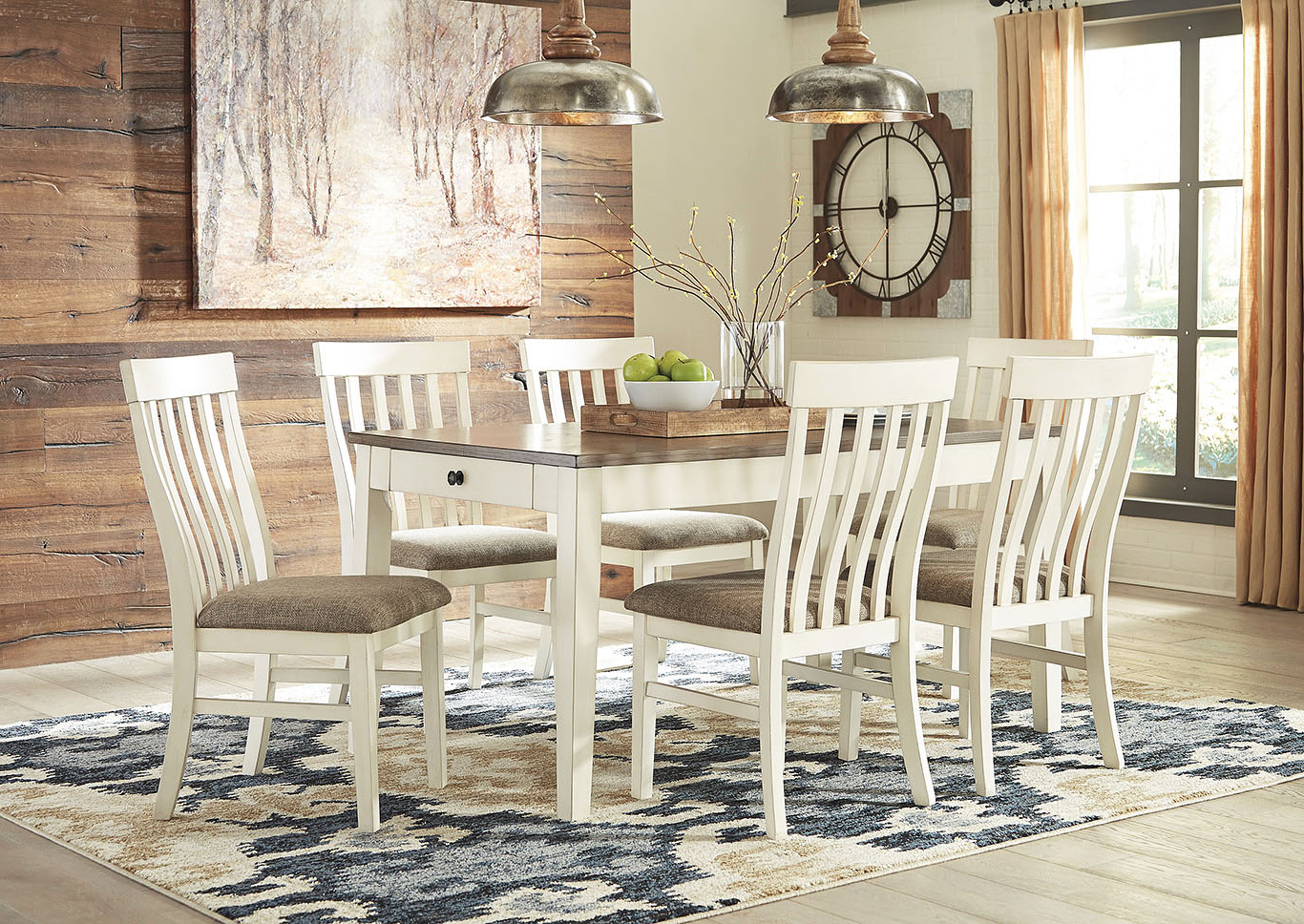 Newest Coaster Contemporary 6-Seating Rectangular Casual Dining Tables inside Wine Country Furniture Bardilyn Dining Table W/6 Side Chairs