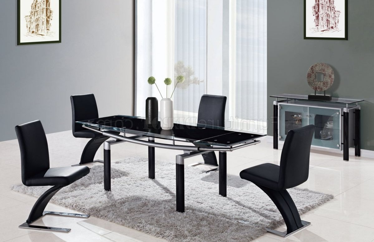 Newest Dining Tables With Black U Legs Regarding Black Modern 88 Dt Dining Table W/black Glass Top & Options (View 24 of 25)