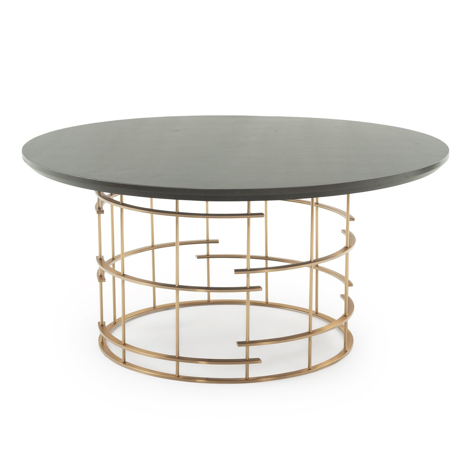 Newest Dining Tables With Brushed Gold Stainless Finish throughout Contemporary Round Cage Base Dining Table Dt01093