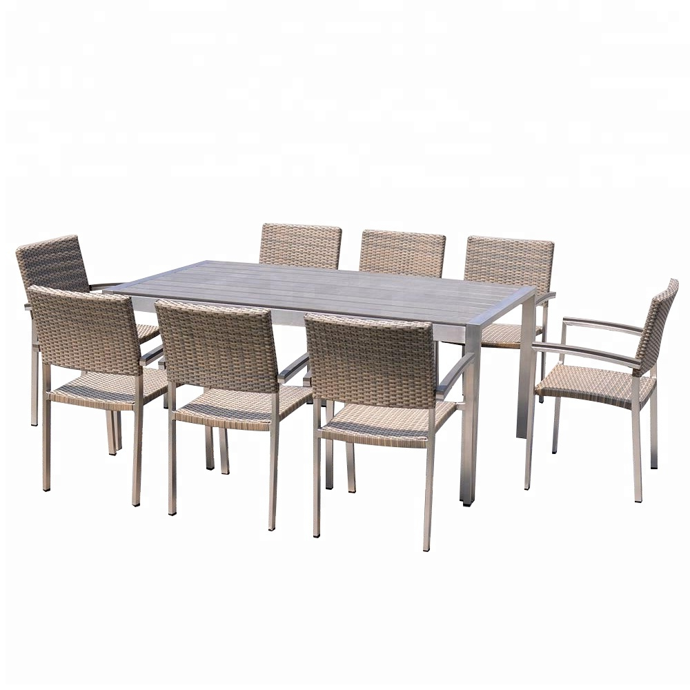Newest Dining Tables With Brushed Stainless Steel Frame in Outdoor Metal Frame Brushed Surface Aluminium Dining Table Set - Buy  Malaysia Dining Table Set,hideaway Dining Table And Chair Set,royal Design  Dining