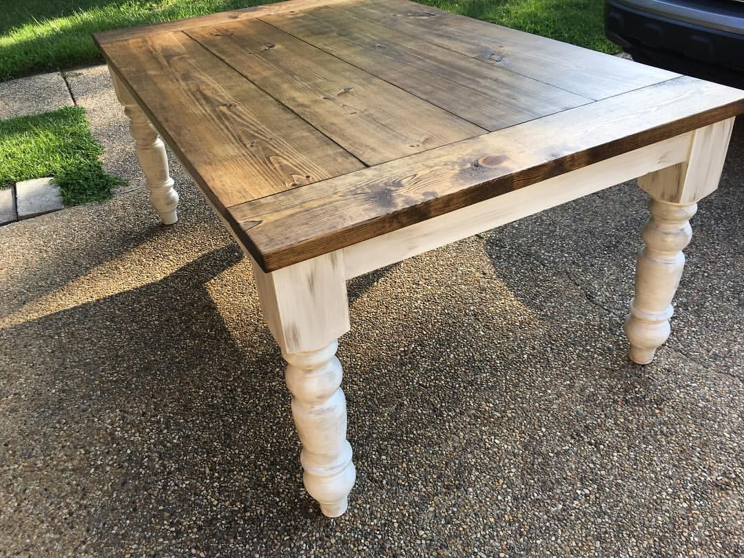 Newest Distressed Walnut And Black Finish Wood Modern Country Dining Tables pertaining to Dining Table Finished Look Stain:special Walnut (Or Chestnut
