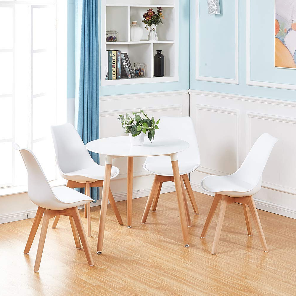 Newest Elegance Small Round Dining Tables intended for Details About White Round Dining Table And 4 Dining Chairs Retro Solid Wood  For Small Kitchen