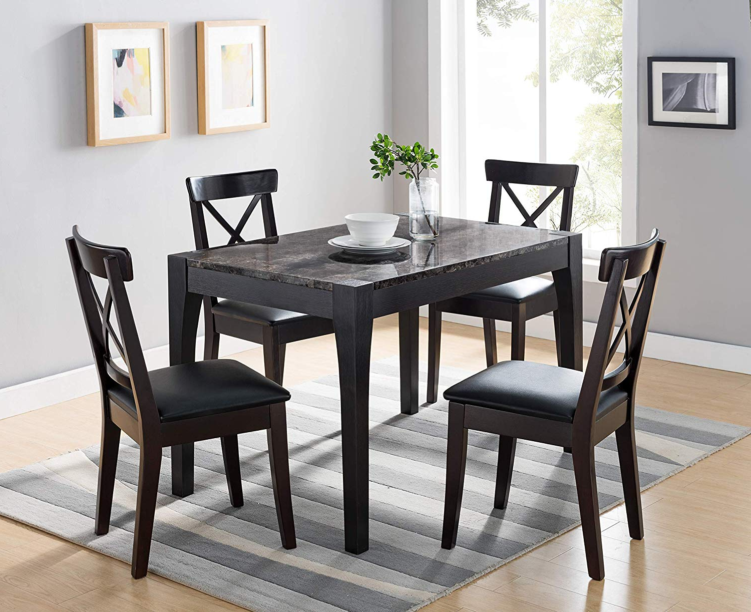 Newest Faux Marble Finish Metal Contemporary Dining Tables regarding Amazon - 161799 Dining Room Table (Black And Faux Black