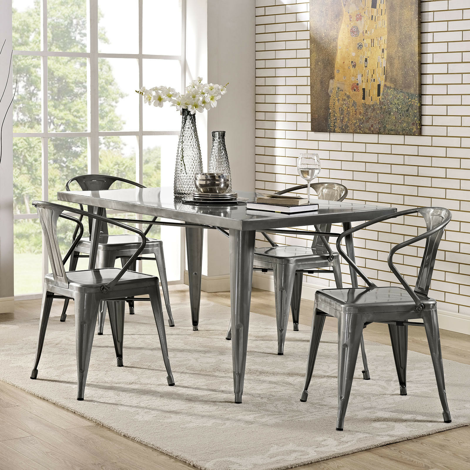 Newest Frosted Glass Modern Dining Tables With Grey Finish Metal Tapered Legs Within Details About Industrial Modern Farmhouse Metal (View 12 of 25)