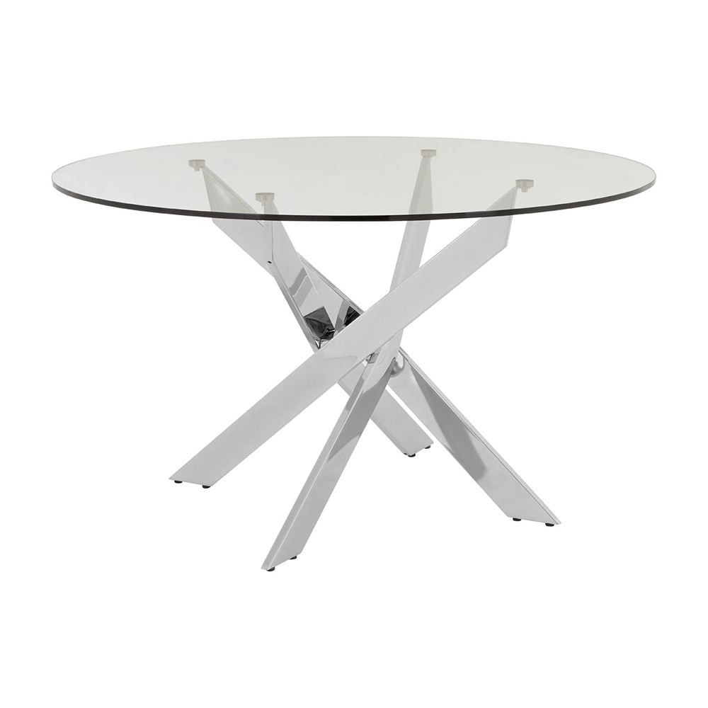 Newest Glass Dining Tables With Metal Legs In Houseology Collection Alexa Round Dining Table Metal Legs (View 20 of 25)