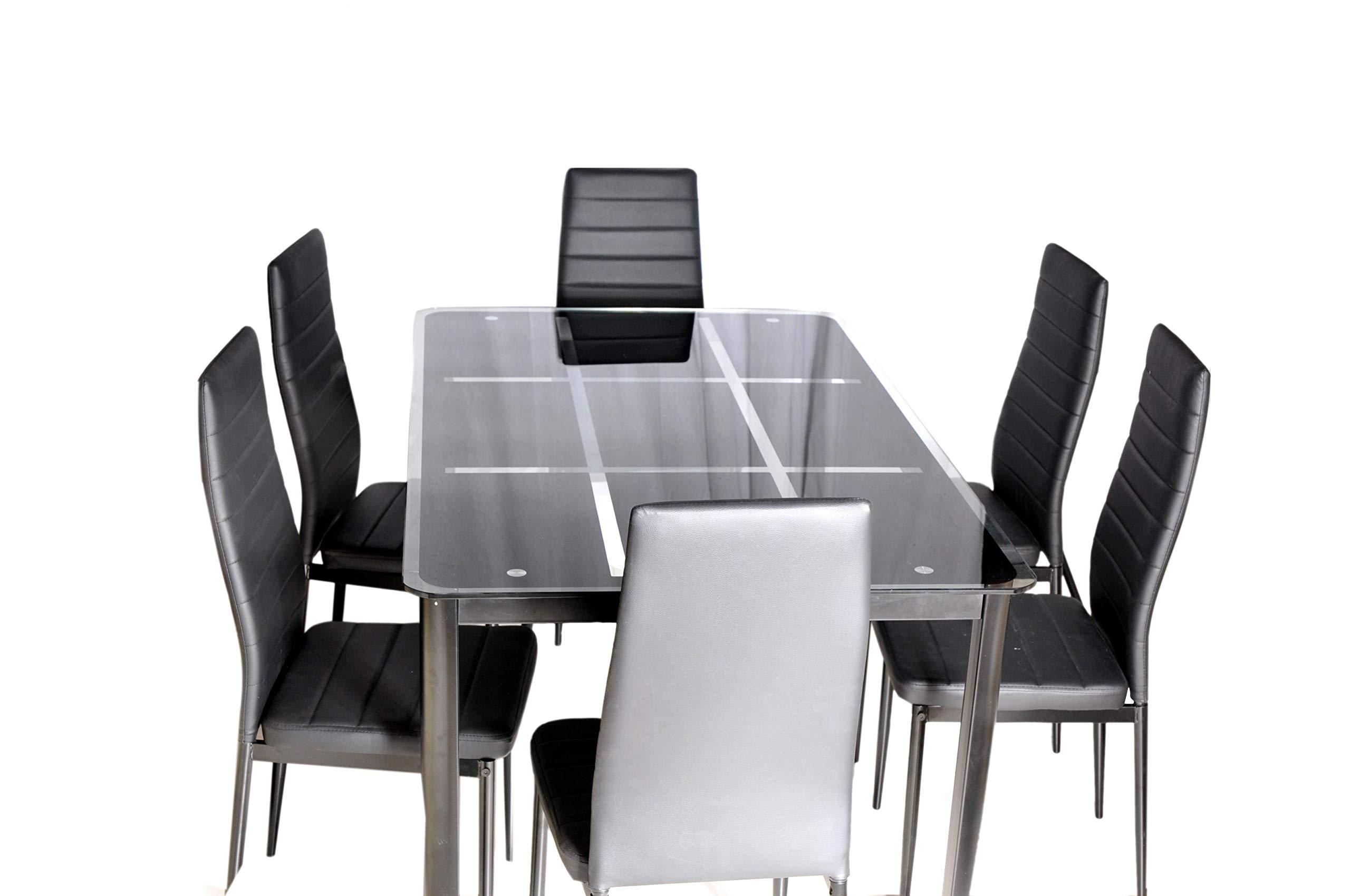 Newest Glass Dining Tables With Metal Legs In Zena Metal And Glass Dining Table Set, With 6 Chairs, Black (View 22 of 25)