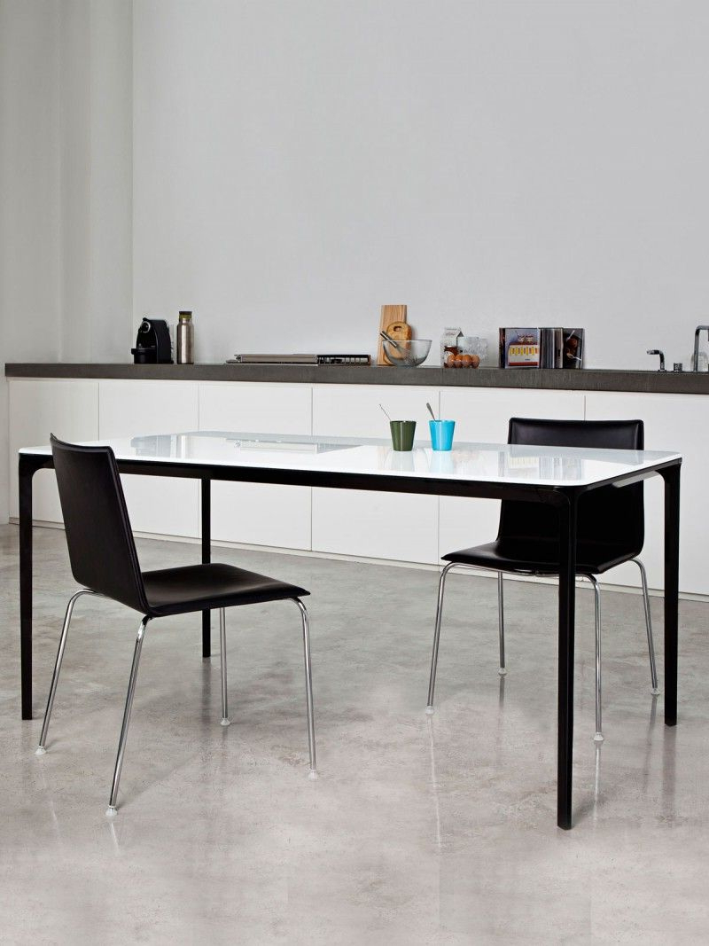 Newest Glass Dining Tables With Metal Legs With Glass Dining Table With Metal Frame – Slim – Glass Table Top (View 3 of 25)