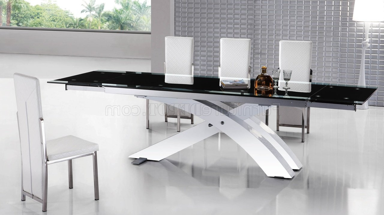 Newest Modern Glass Top Extension Dining Tables In Matte Black pertaining to 8420Dt Dining Table W/black Glass Topesf