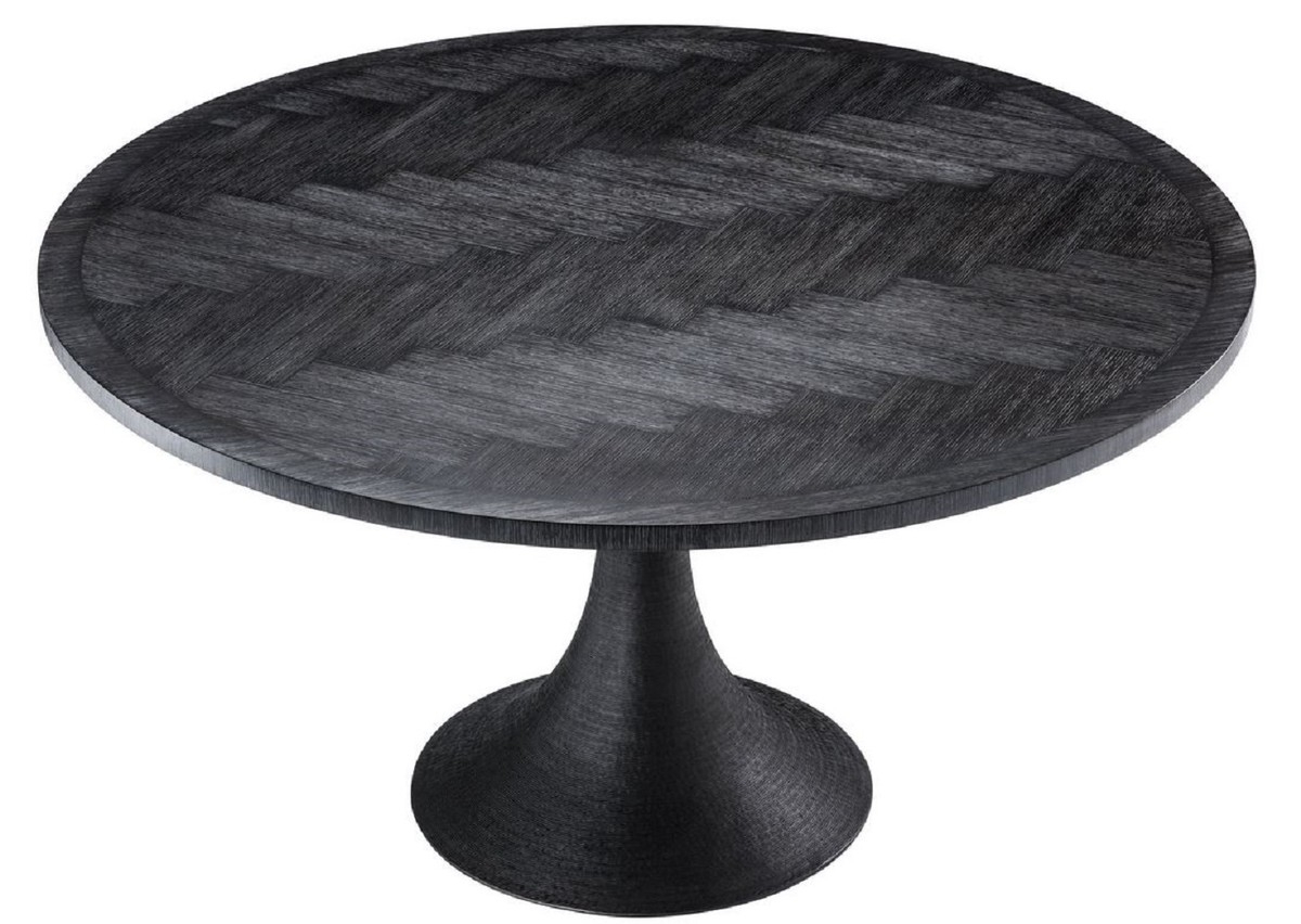 Newest Neo Round Dining Tables with regard to Casa Padrino Luxury Dining Table Black Ø 140 X H. 76 Cm - Round Kitchen  Table - Luxury Dining Room Furniture