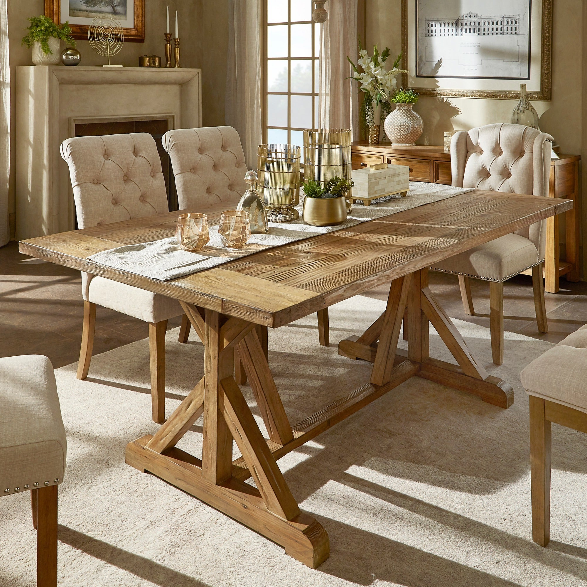 Newest Rustic Pine Small Dining Tables pertaining to Benchwright Rustic Pine Accent Trestle Reinforced Dining Tableinspire Q  Artisan