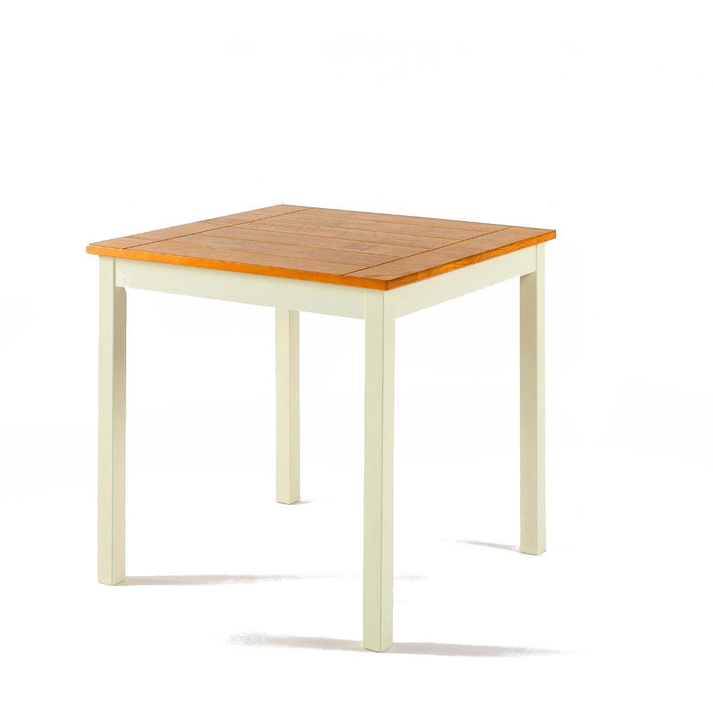 Newest Small Rustic Look Dining Tables Pertaining To Amazon – Two Tone Dining Table White And Natural Wooden (View 14 of 25)