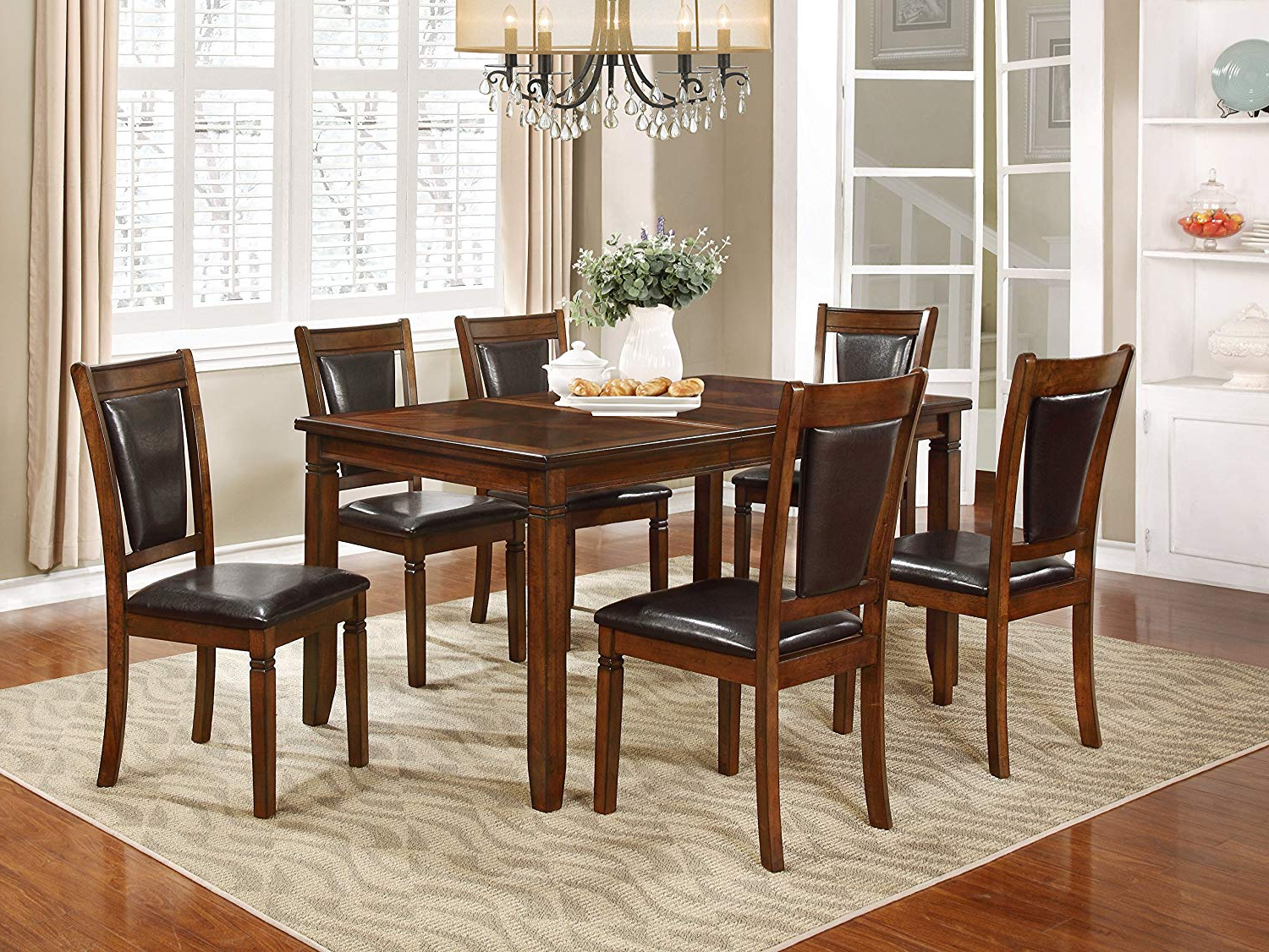Nhi Express 7Pcs Wood Dining Set In Favorite Transitional 6 Seating Casual Dining Tables (View 13 of 25)