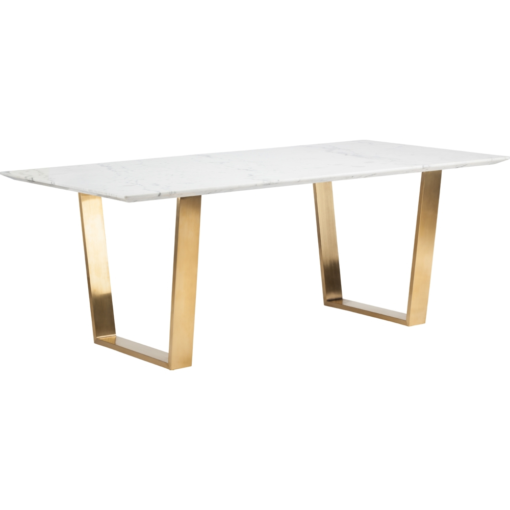 Nuevo Modern Furniture Hgsx139 Catrine Dining Table White Pertaining To Recent Dining Tables With Brushed Gold Stainless Finish (View 7 of 25)