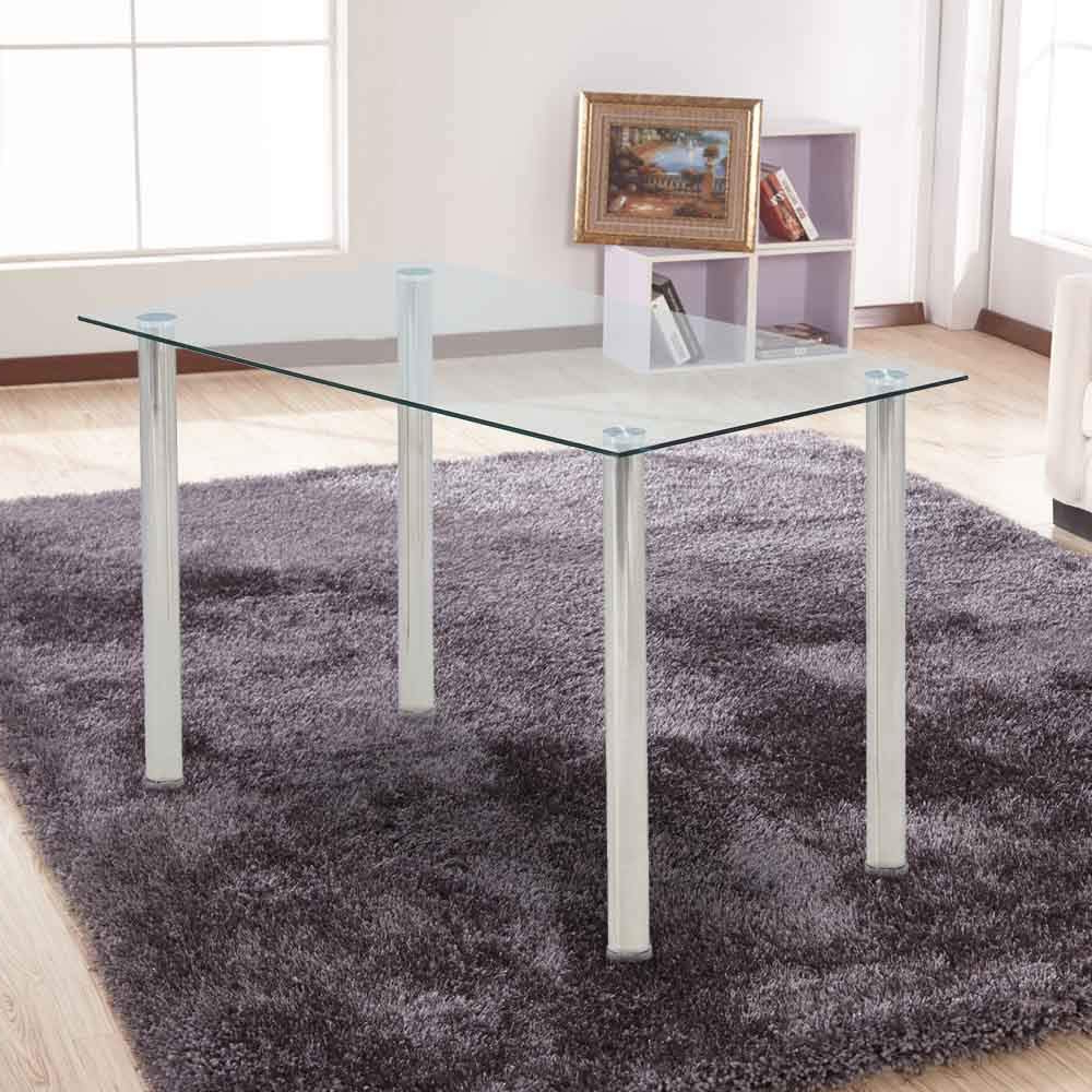 Ohana White Modern Tempered Glass Dining Table Set Rectangular Transparent Kitchen Tables Metal Legs Intended For Recent Glass Dining Tables With Metal Legs (View 19 of 25)