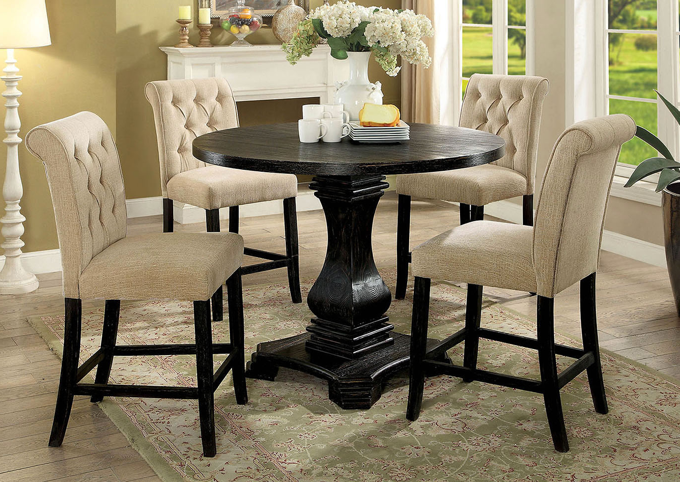 Peaceful Living Furniture Nerissa Antique Black Round Pertaining To Well Known Antique Black Wood Kitchen Dining Tables (View 15 of 25)