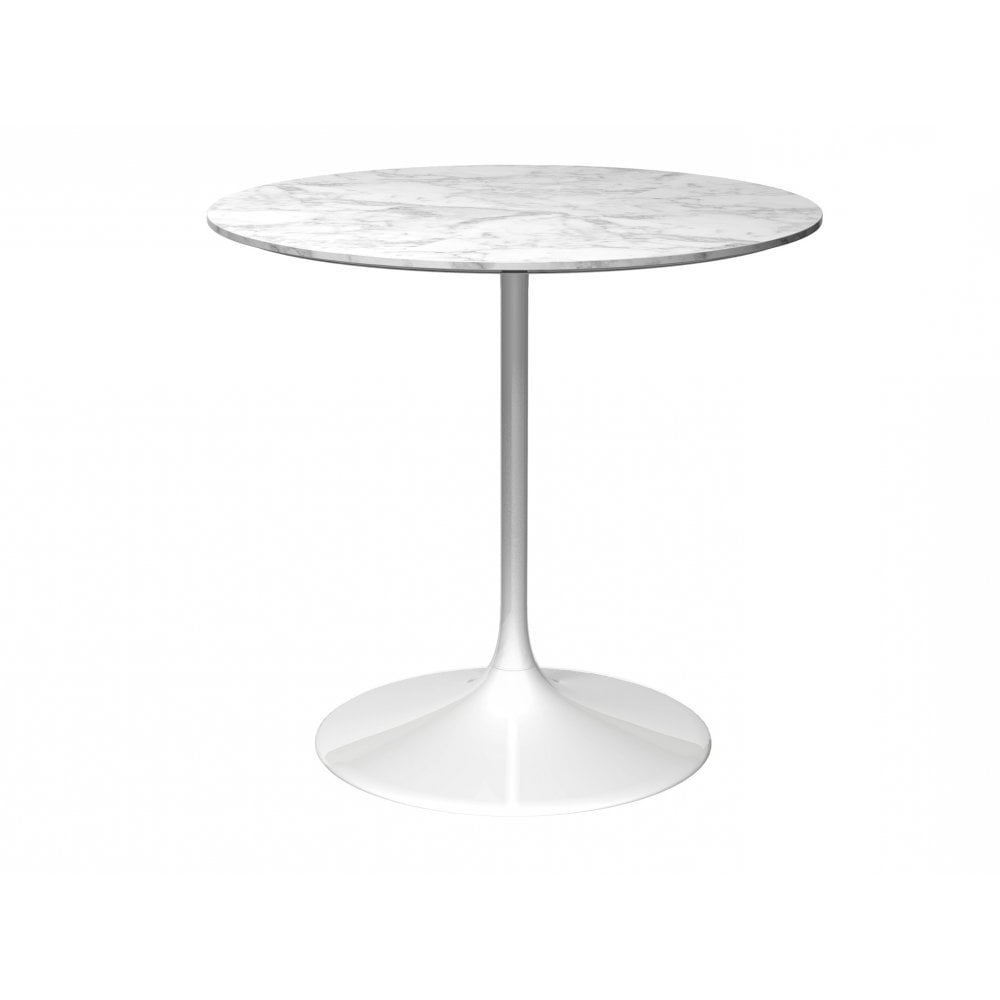 Pedestal Medium Dining Table White Marble And White With Regard To Fashionable Medium Dining Tables (View 11 of 25)