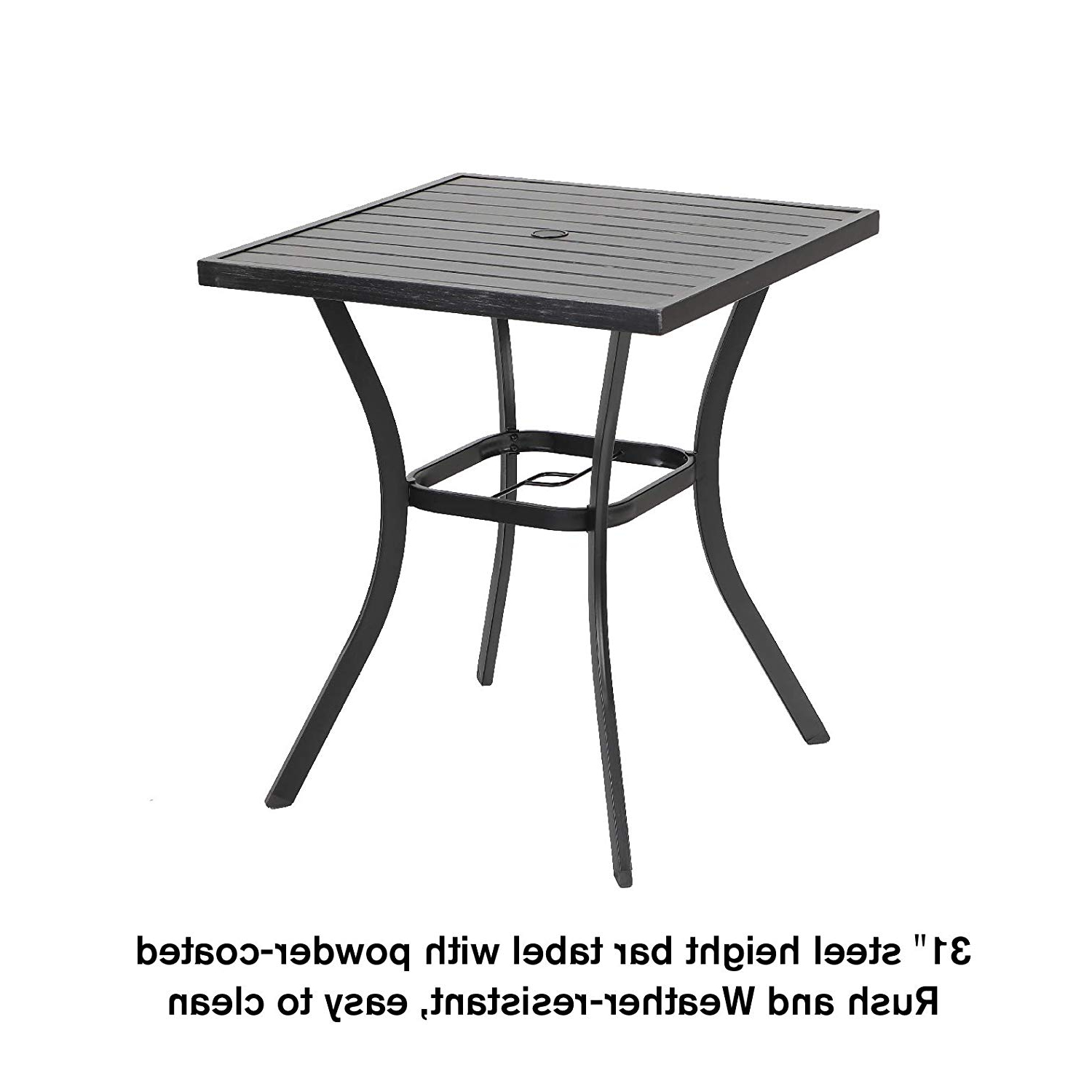 Popular 36 Height With Umbrella Hole For Outdoor Garden Phi Villa 31 For Patio Square Bar Dining Tables (View 16 of 25)