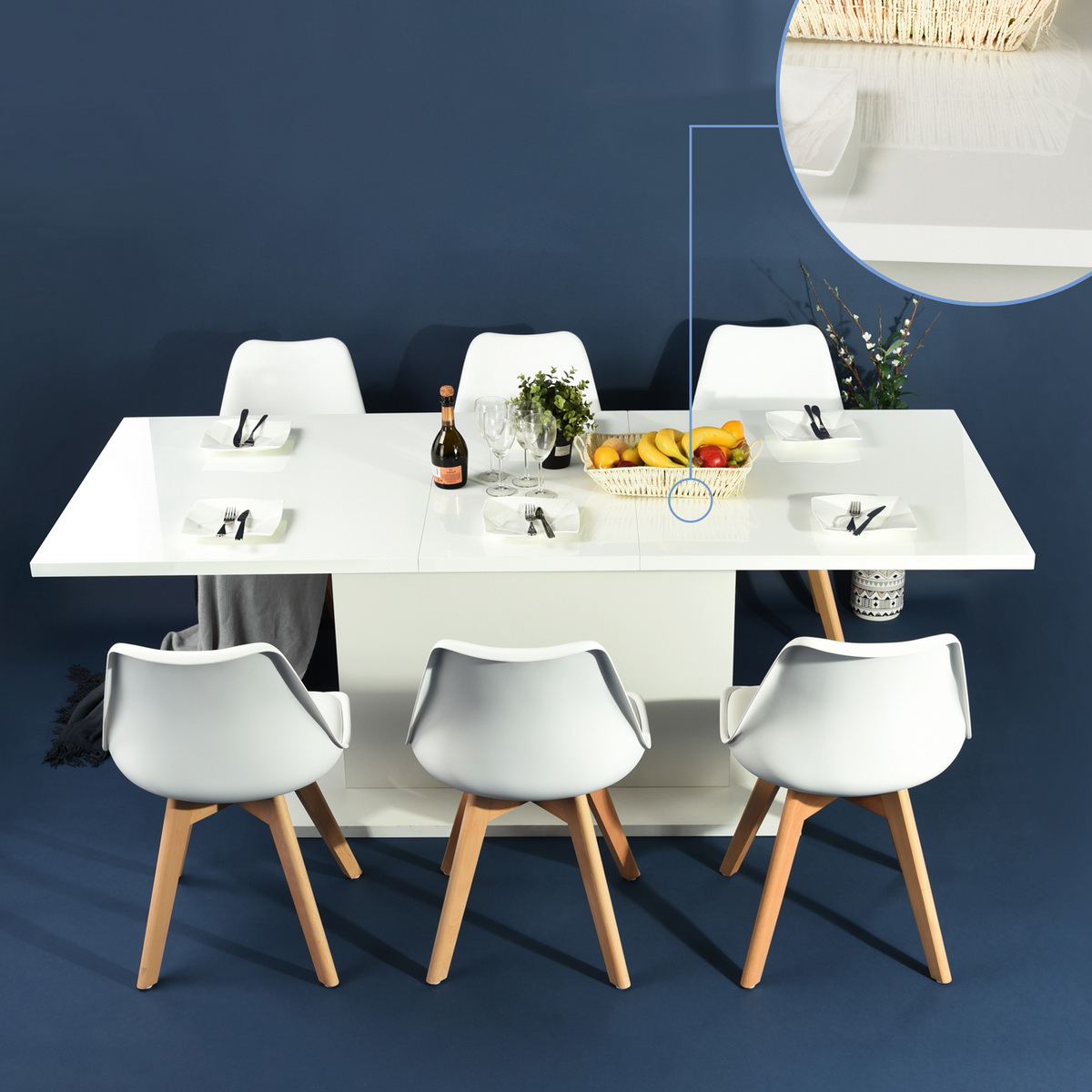 Popular 8 Seater Wood Contemporary Dining Tables With Extension Leaf Pertaining To Details About Modern Kitchen Dining Table Extendable Wooden 4 8 Seaters  High Gloss White Wood (View 17 of 25)