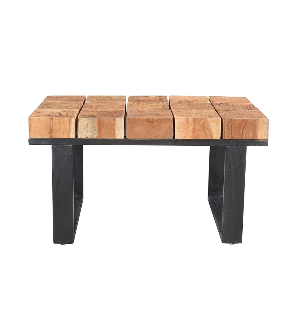 Popular Acacia Dining Tables With Black Rocket Legs In Amazon: Solid Acacia Wood Coffee Table With Iron Legs (View 11 of 25)