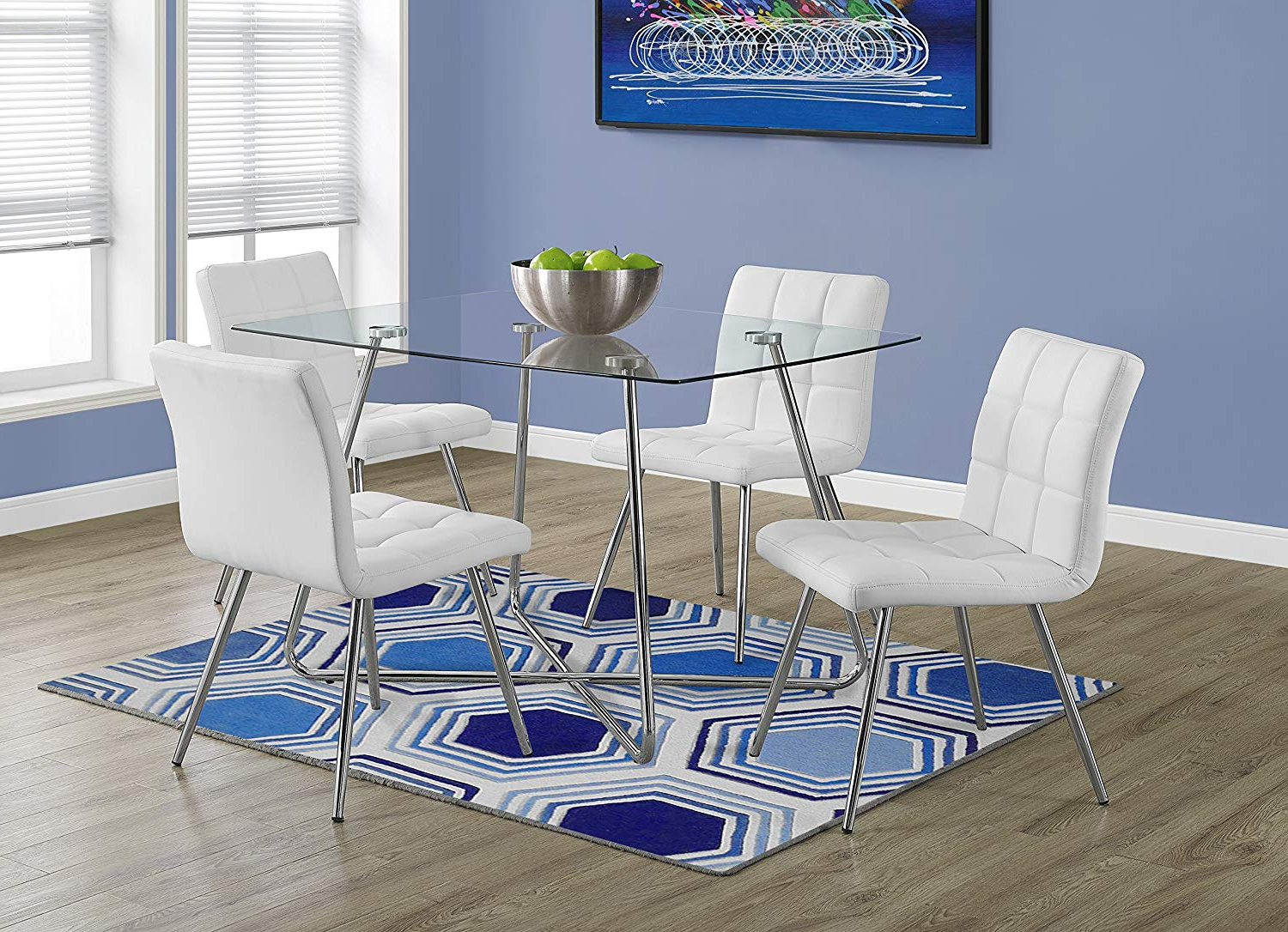 """Popular Chrome Dining Tables With Tempered Glass Pertaining To Monarch Specialties Chrome With 8 Mm Tempered Glass Dining Table, 36"""" X 48"""", Silver (View 8 of 25)"""