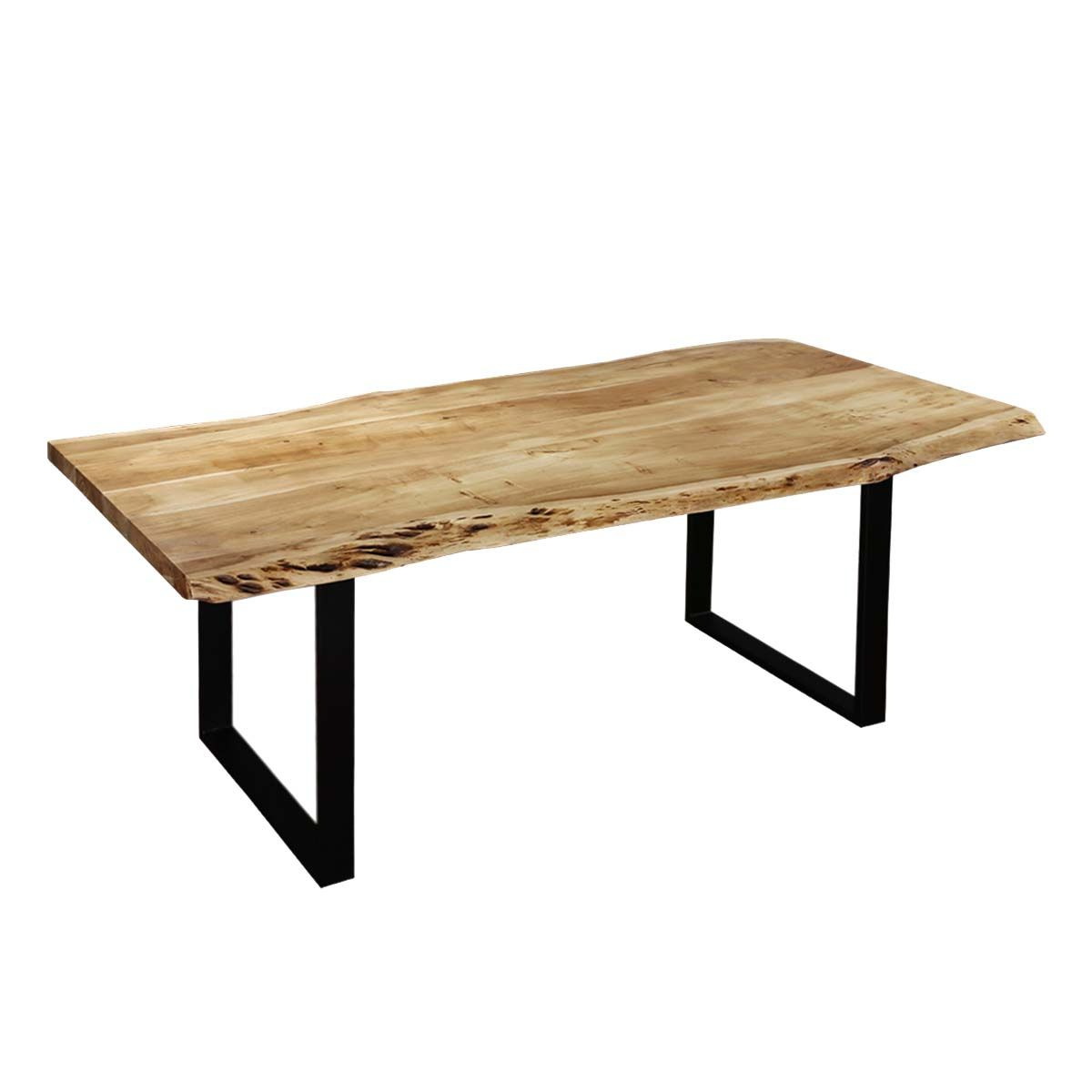 Popular Contemporary Mango Wood & Iron Live Edge Dining Table Throughout Acacia Top Dining Tables With Metal Legs (View 19 of 25)