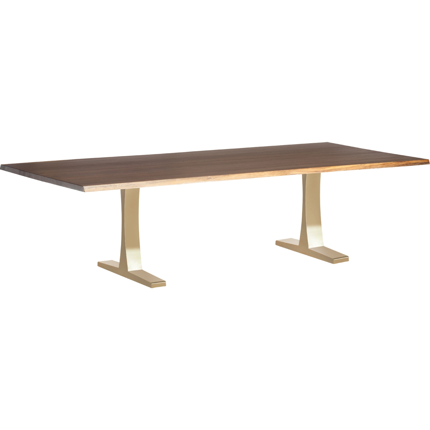"""Popular Dining Tables In Seared Oak With Brass Detail Pertaining To Nuevo Toulouse 112"""" Dining Table Seared Oak Top On (View 8 of 25)"""