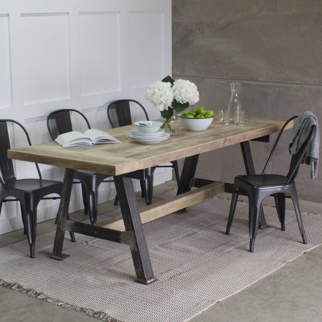 Popular Game Reclaimed Wood Dining Table Steel Frame Rust – Saltandblues With Regard To Small Round Dining Tables With Reclaimed Wood (View 9 of 25)