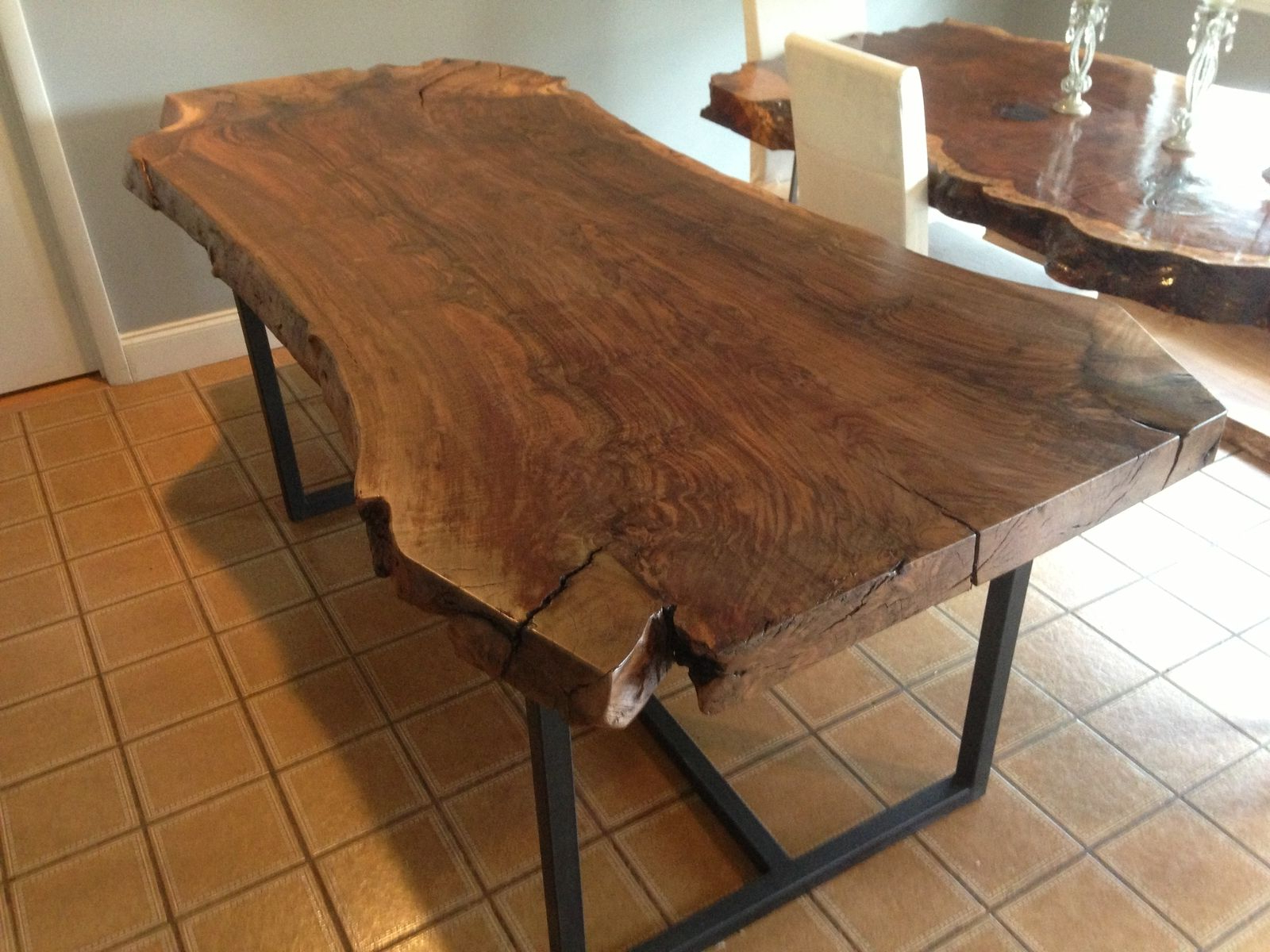 Popular Handmade Live Edge Claro Walnut Dining Tableozma Design With Walnut Finish Live Edge Wood Contemporary Dining Tables (View 16 of 25)