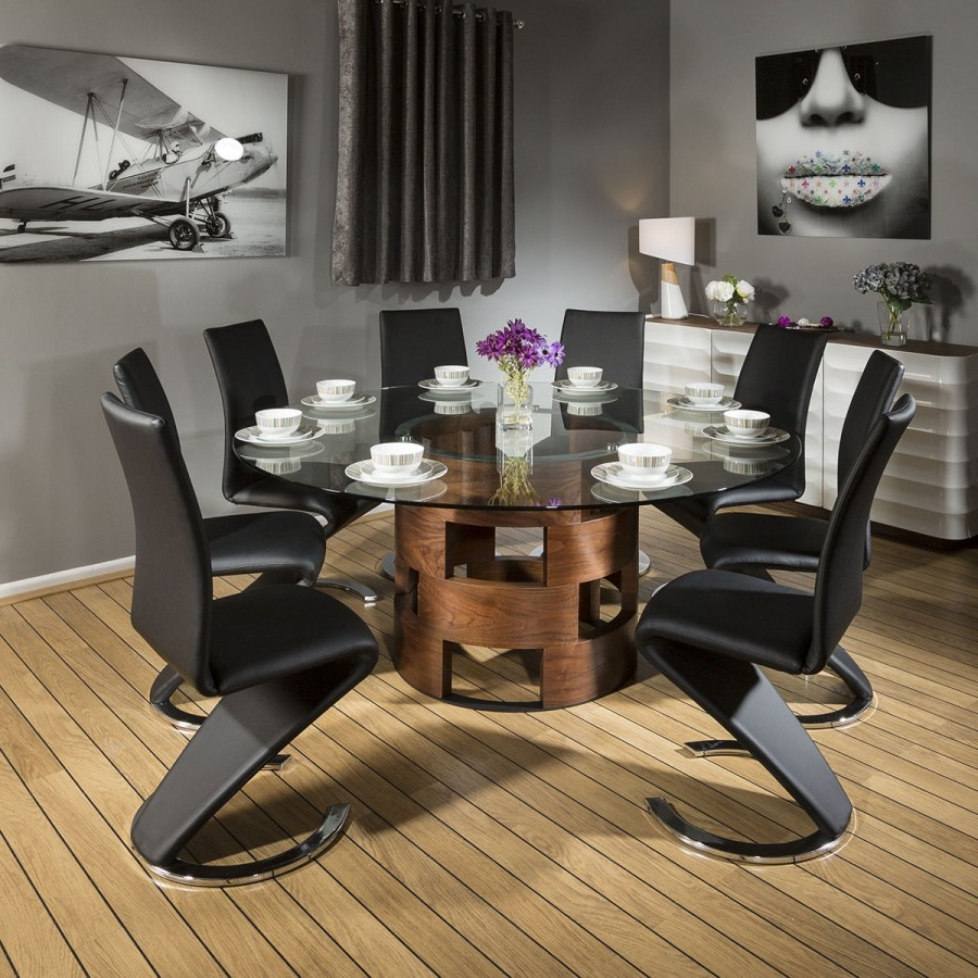 Popular Large Round Glass Top Walnut Dining Table + 8 Black Z Chairs 6736 Pertaining To Elegance Large Round Dining Tables (View 11 of 25)