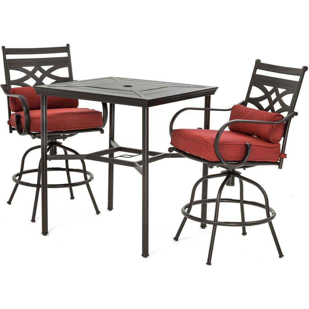 Popular Patio Square Bar Dining Tables With Details About Hanover Patio Dining Set Metal Outdoor Bar Height Chili Red Cushions 3 Piece (View 21 of 25)