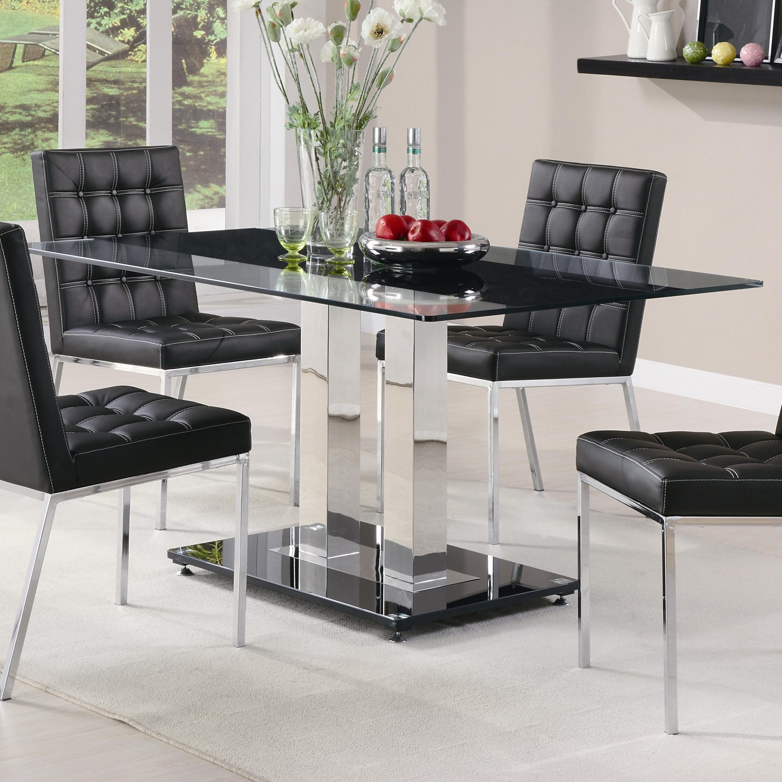 Popular Rolien Chrome Finish Table With Tempered Glass Top (View 4 of 25)