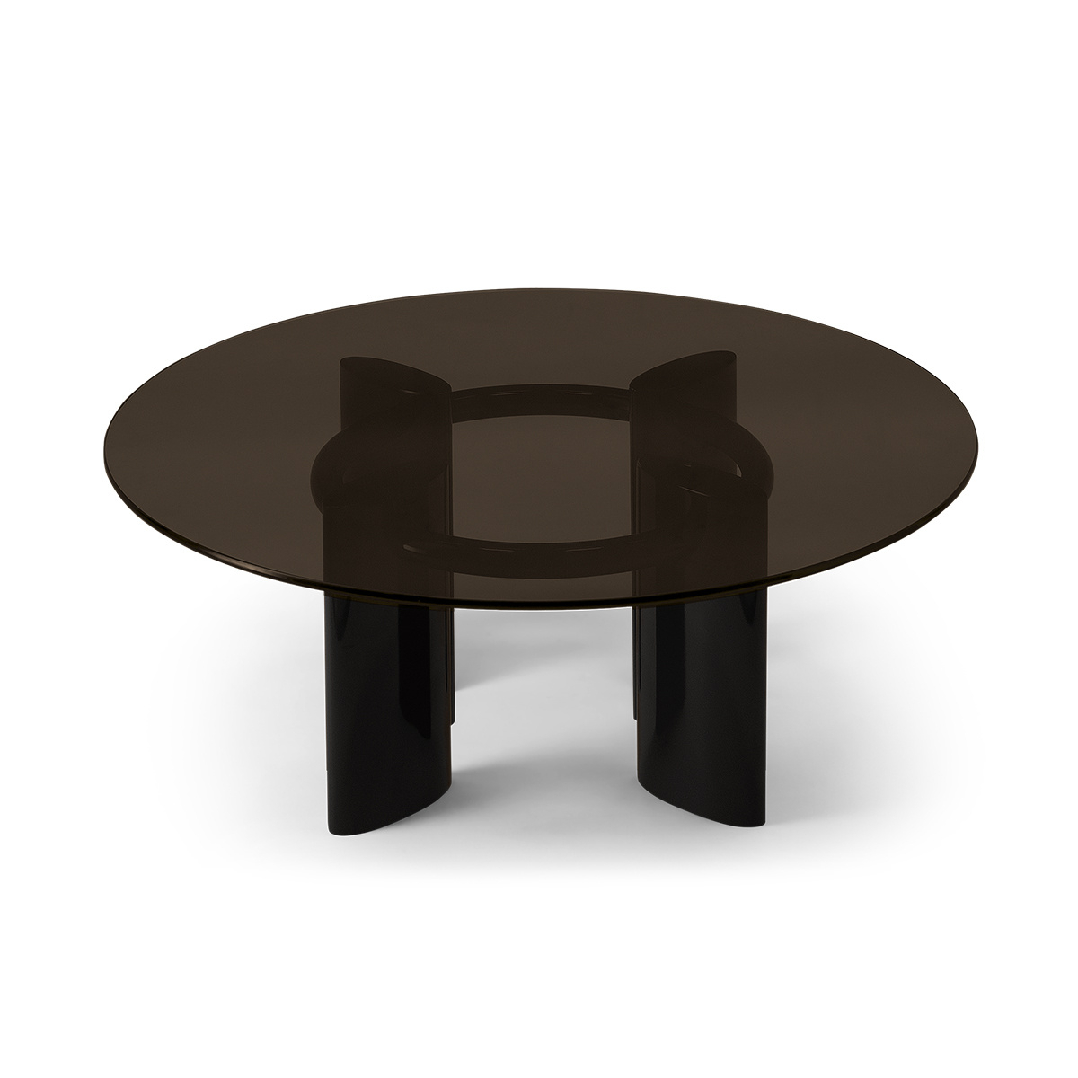 Popular Smoked Oval Glasstop Dining Tables Within Carlotta Coffee Table, Smoked Glass Top And Black Legs (View 7 of 25)