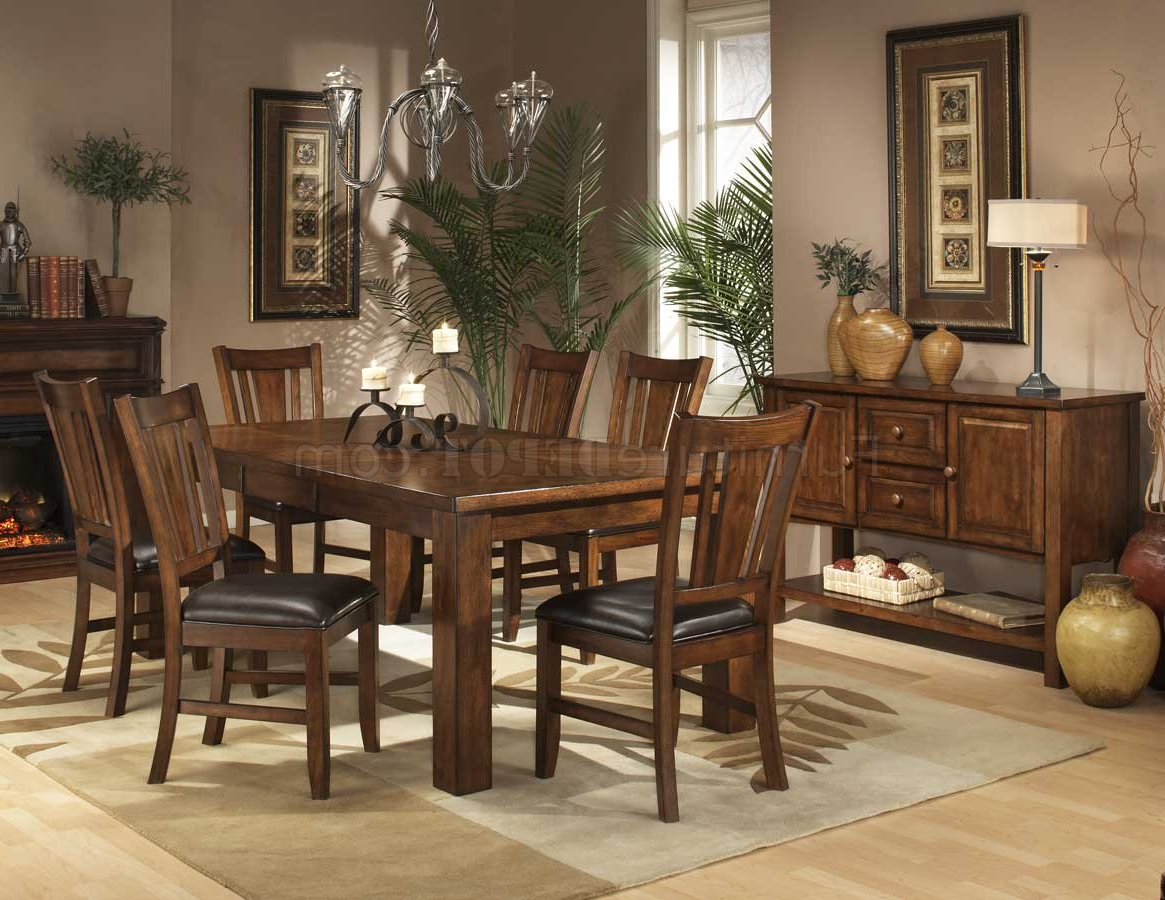 Popular Transitional 6 Seating Casual Dining Tables Intended For Dark Oak Finish Casual Dining Table W/optional Chairs (View 7 of 25)