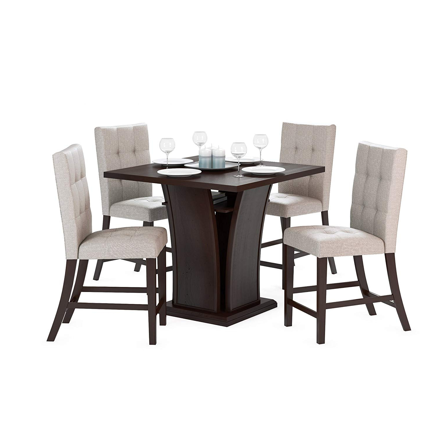 """Preferred Bistro Transitional 4 Seating Square Dining Tables Pertaining To Corliving Dwp 390 Z1 Bistro 5 Piece 36"""" Counter Height Cappuccino Wood Dining Set With Storage Shelf Tufted Platinum Sage Seats (View 6 of 24)"""