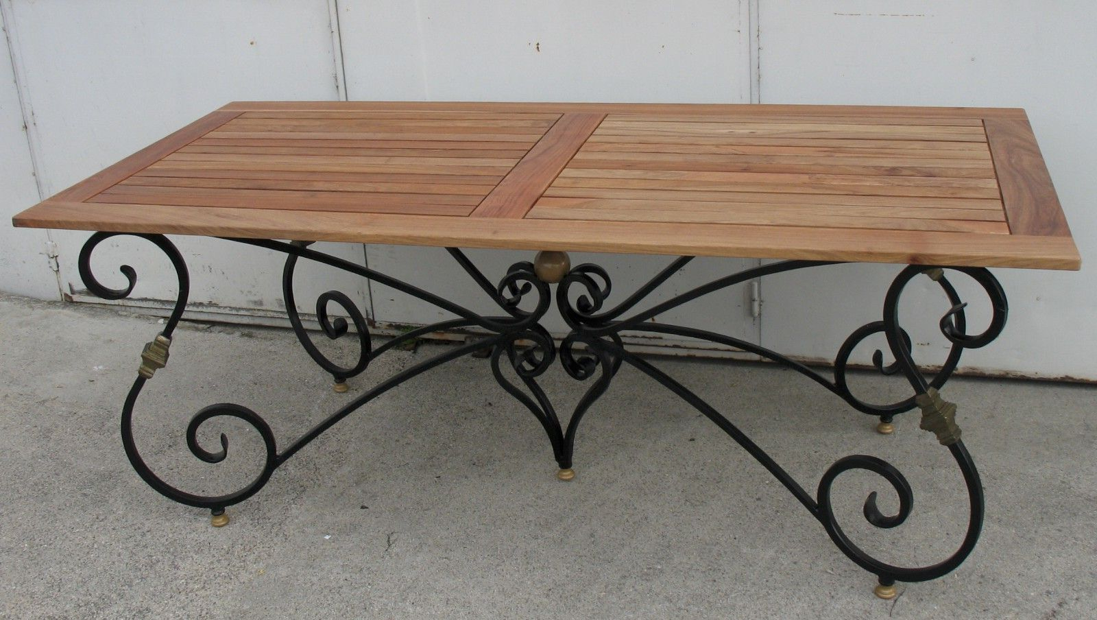 Preferred Dining Table With Base In Black And Gold Wrought Iron With Pertaining To Iron Wood Dining Tables (View 3 of 25)